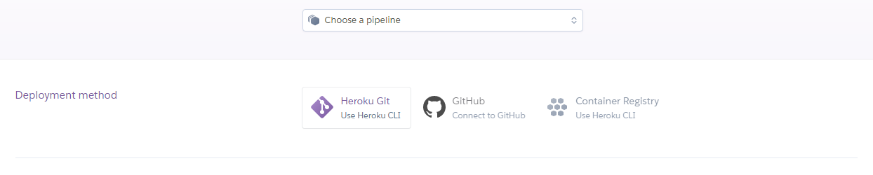 An image showing the deployment methods available in Heroku